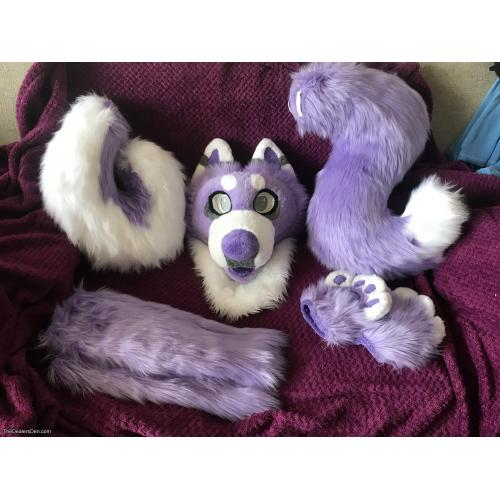 Cute Purple Wolf Partial, Comes With 2 Tails!