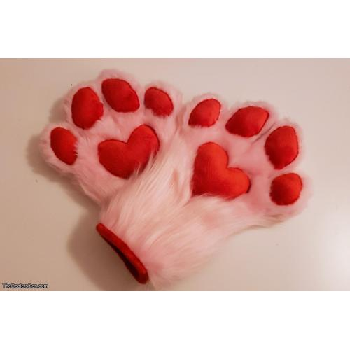 Premade Red x Pink Heart Puffy Paws