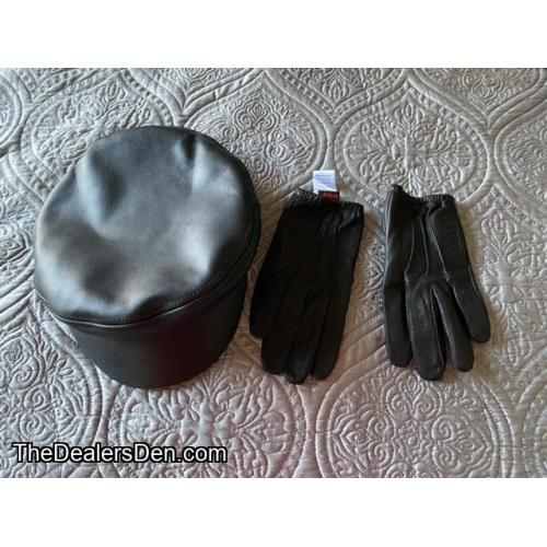 Leather hat and gloves