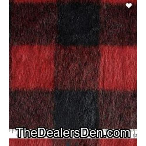 red plaid fox faux fur