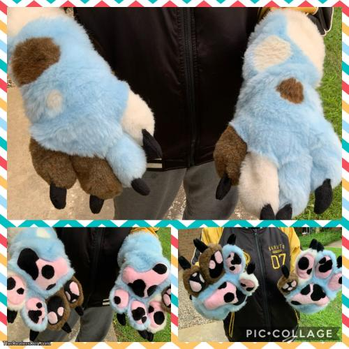 Blue Spotted Hand Paws