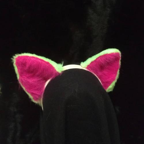 Watermelon wolf ear and tail set