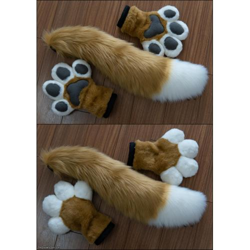 Tan Canine Puffy Paws and Tail