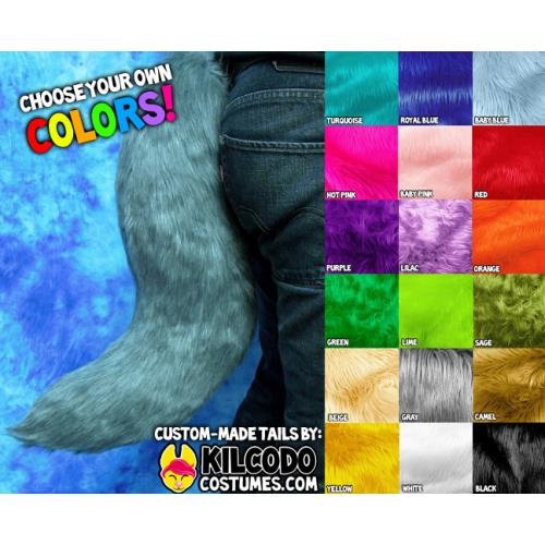 Choose Your Colors! Faux Fur Fursuit Tail - Made to Order - by Kilcodo