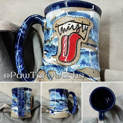 Thirsty word art stoneware ~12oz stein/mug